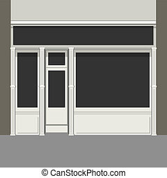 Shopfront with Black Windows. Light Store Facade. Vector. -...