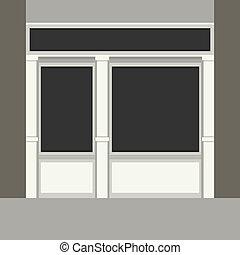 Shopfront with Black Windows. Light Store Facade. Vector.