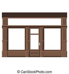 Shopfront with White Blank Windows. Wood Store Facade....