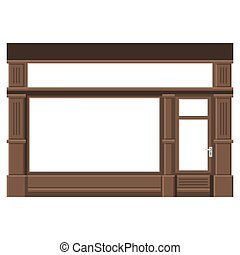 Shopfront with White Blank Windows. Wood Store Facade. Vector.