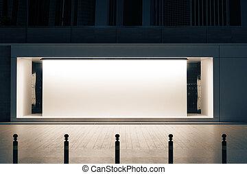 Shopfront with white poster
