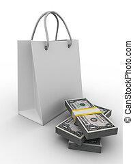 shoping, avbild, isolerat, väska, white., 3