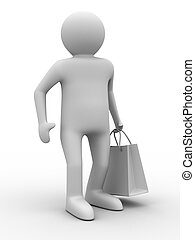 shoping, avbild, isolerat, väska, white., man, 3
