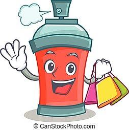 shoping, caractère, pulvérisation, boîte aérosol, dessin animé