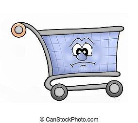 Shoping cart sad - Sad shopping cart - color illustration.