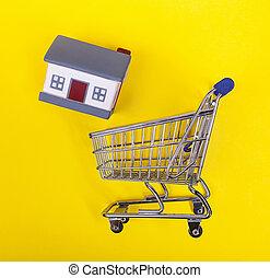 shoping, case, giallo, gomma, fondo., carrello