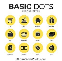 Shoping flat icons vector set