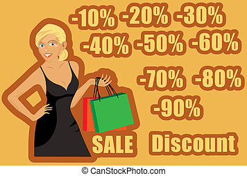 Shoping Girl - vector illustration of a blonde girl in black...