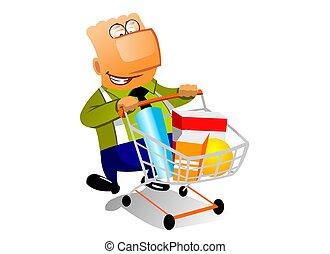shopingcart, hombre de negocios