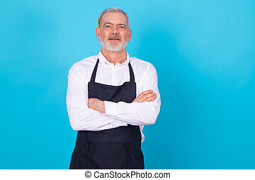 shopkeeper in uniform isolated on color background