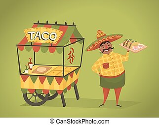 Shopkeeper sells tacos on the street. Mexican food