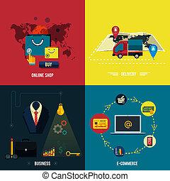 shopoing., en línea, entrega, comercio electrónico, iconos