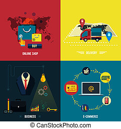 shopoing., online, entrega, comércio eletrônico, ícones