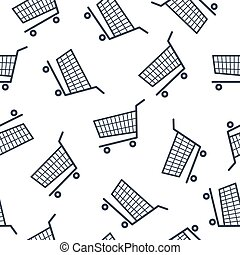 shoppa vagnen, mönster, vit, seamless, bakgrund., ikon