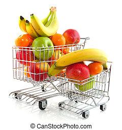 shoppa vagnen, med, frukt