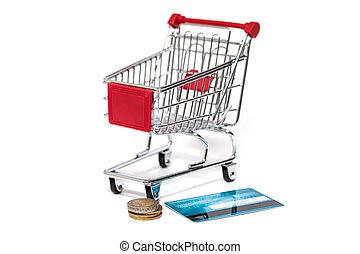 shoppa vagnen, och, kreditkort, isolerat