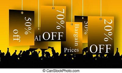 shoppen , aankondigen, animatie, sales., concept