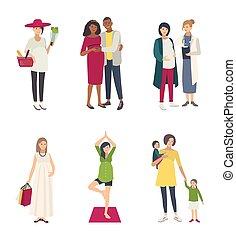 shoppen , anders, vrouw, zwangere , toestanden, set., verzameling, echtgenoot, s, plat, yoga, kinderen, arts., illustrations.