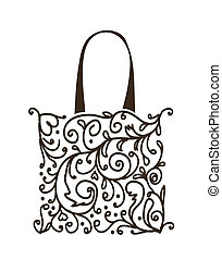 shoppen, blumen-, tasche, design, verzierung
