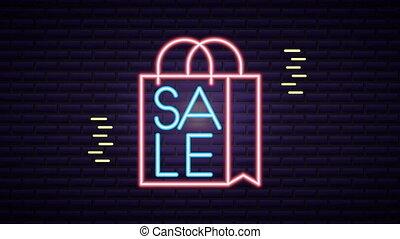 shoppen , commercieel, etiket, zak, neon ontsteken