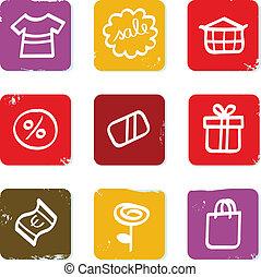 shoppen , doodle, commercieel, verkoop, retro, pictogram