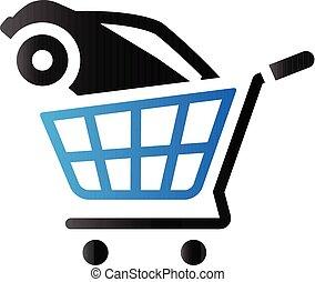 shoppen, duo, auto, -, ton, ikone