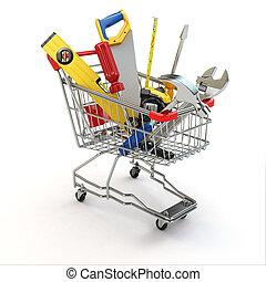 shoppen, e-commerce., werkzeuge, cart.