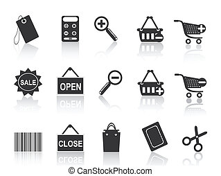 shoppen , e-handel, black , pictogram, set
