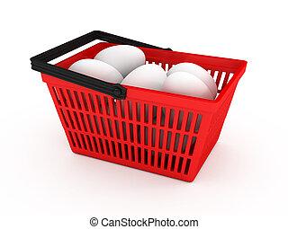 shoppen, eier, hintergrund, korb, weißes, aus