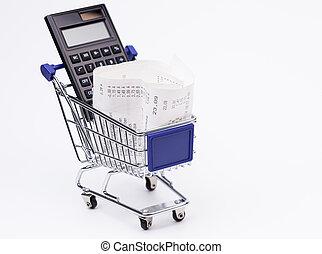 shoppen, empfang, taschenrechner, a