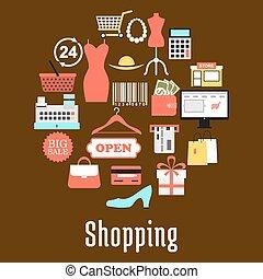 shoppen , en, detailhandel, handel, iconen