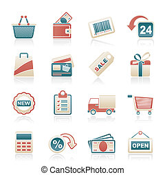 shoppen , en, detailhandel, iconen
