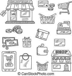 shoppen , en, detailhandel, iconen, set, schets, stijl