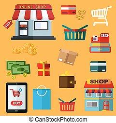 shoppen , en, detailhandel, plat, iconen