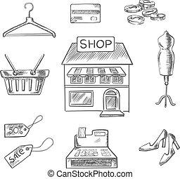 shoppen , en, detailhandel, schets, iconen