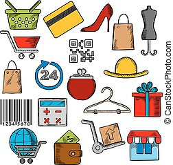shoppen , en, handel, iconen