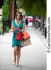shoppen, frau besitz, digital tablette