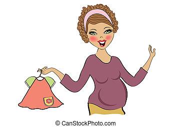 shoppen, frau, schwanger, freigestellt, hintergrund, weißes, glücklich