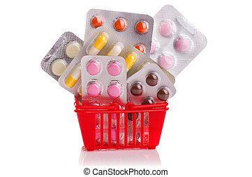 shoppen, freigestellt, pillen, straßenbahn, medizinprodukt, weißes