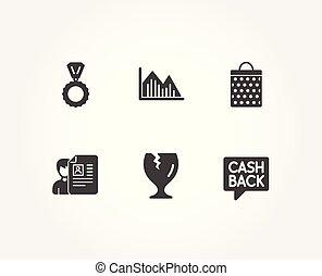 shoppen , geld, grafiek, breekbaar, icons., zak, sollicitatiegesprek, overdracht, verpakken, medaille, investering, signs.