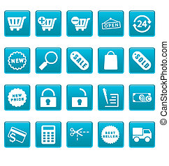 shoppen, heiligenbilder, auf, blaues, quadrate