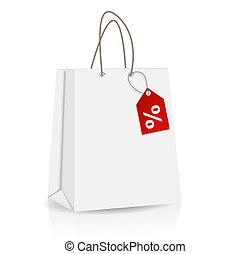 shoppen , het brandmerken, verkoop, illustratie, etiket, zak, vector, reclame, lege
