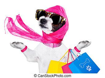 shoppen, hund,  diva