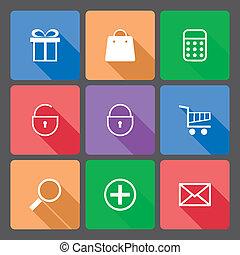 shoppen , iconen, set, met, lang, schaduw