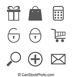 shoppen , iconen, set