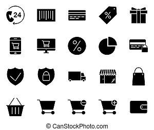 shoppen , iconen, set., vector, pictograms, silhouette