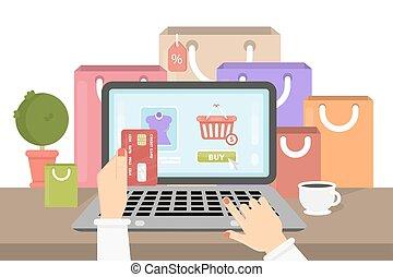 shoppen, illustration., online