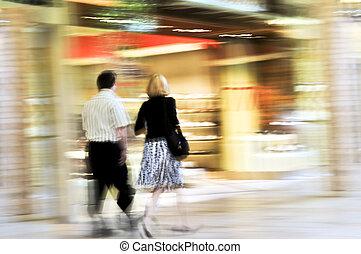 shoppen, in, a, einkaufszentrum