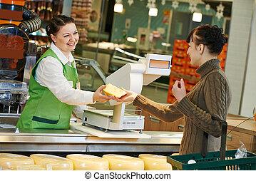 shoppen, in, supermarkt