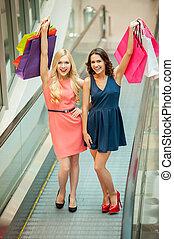shoppen , is, fun., twee, mooi, jonge vrouwen, het genieten van, het winkelen reis